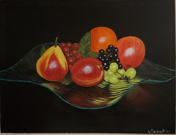 Fruit in glass dish